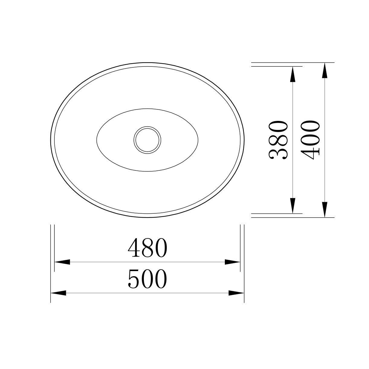 Countertop Wasbasin LEO - Drawing 2