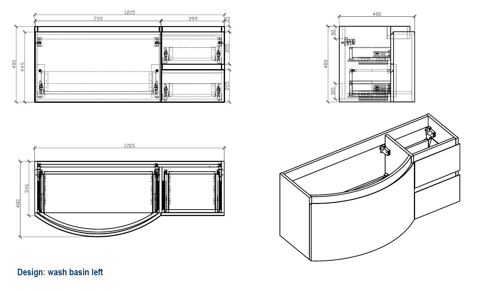 LAURANCE 1200 basin left - Drawing