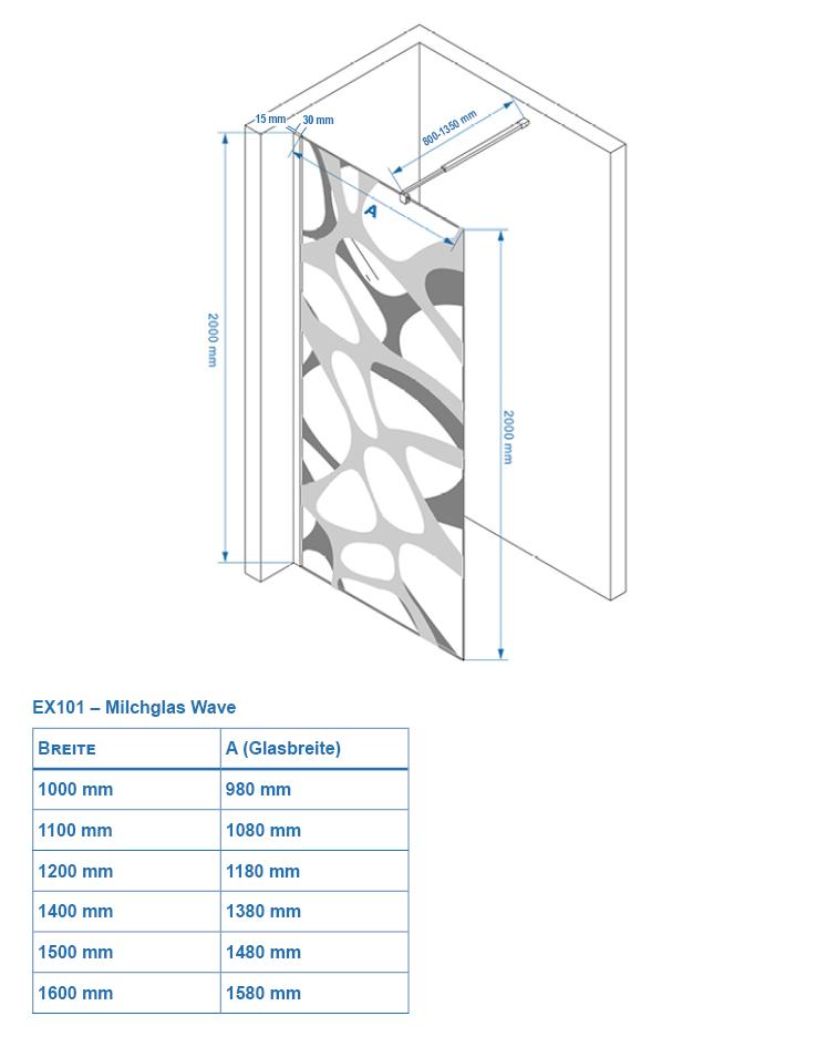 Duschkabine EX101 Wave - Zeichnung