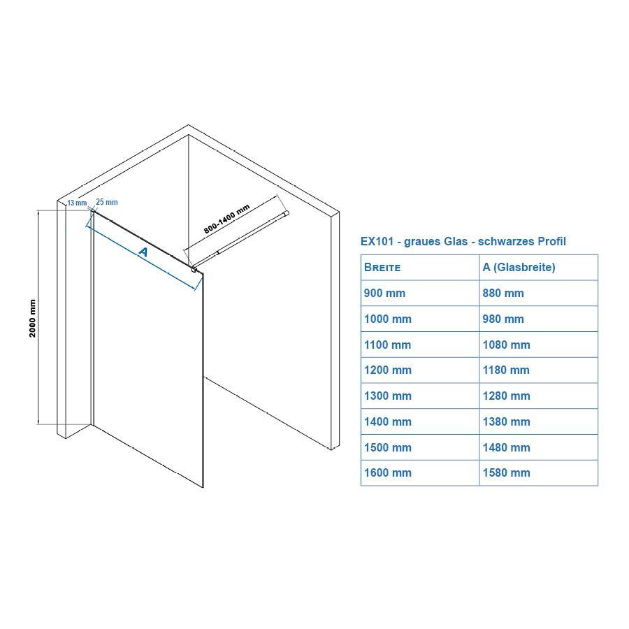 Duschabtrennung EX101 grau - schwarzes Profil - Zeichnung