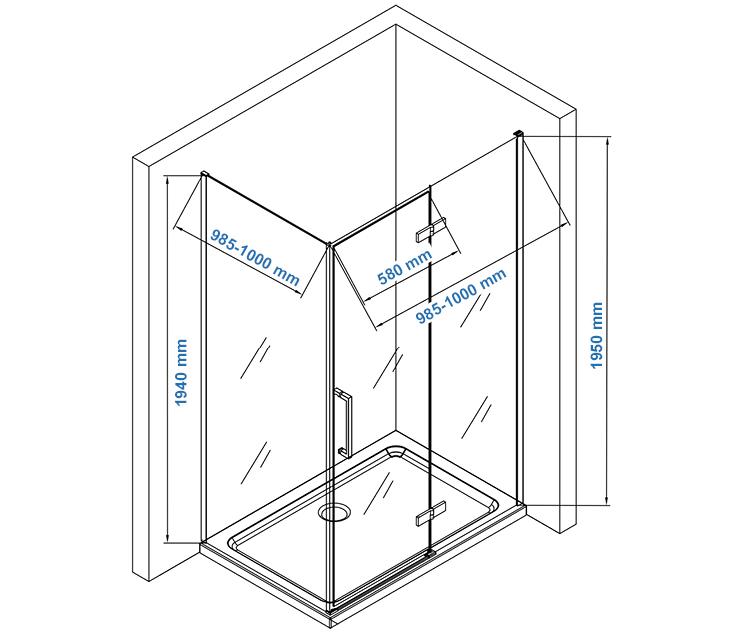 EX409 shower enclosure Drawing - 100x100cm
