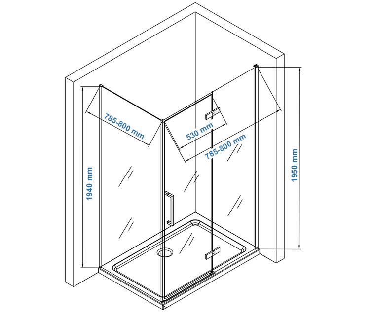 Corner shower enclosure EX409 Drawing - 80x80cm