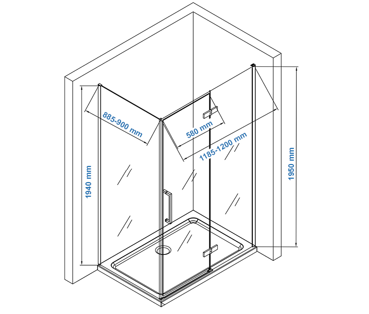 EX409 shower enclosure Drawing - 90x120cm