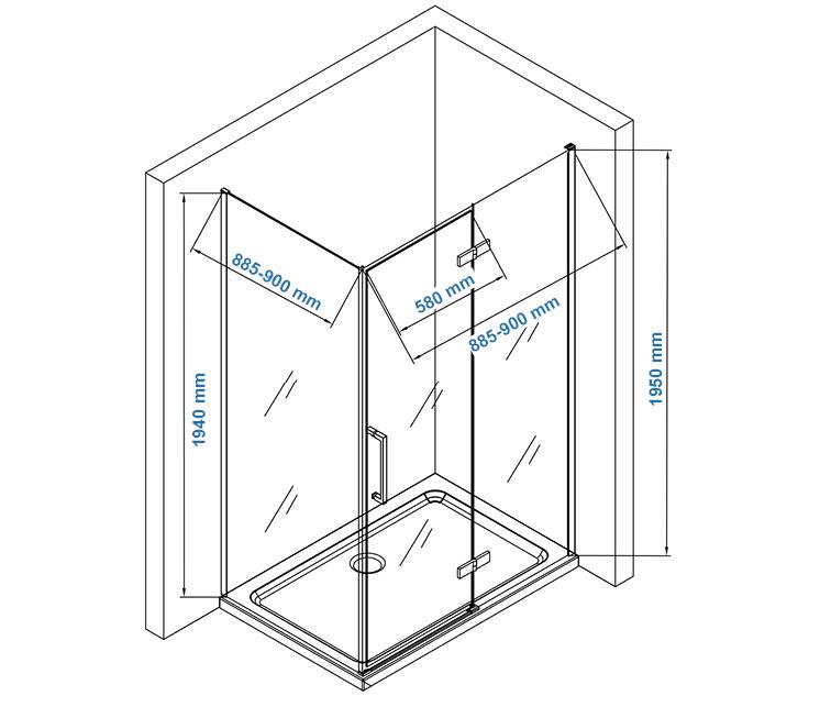 EX409 shower enclosure EX409 - 90x90cm Drawing