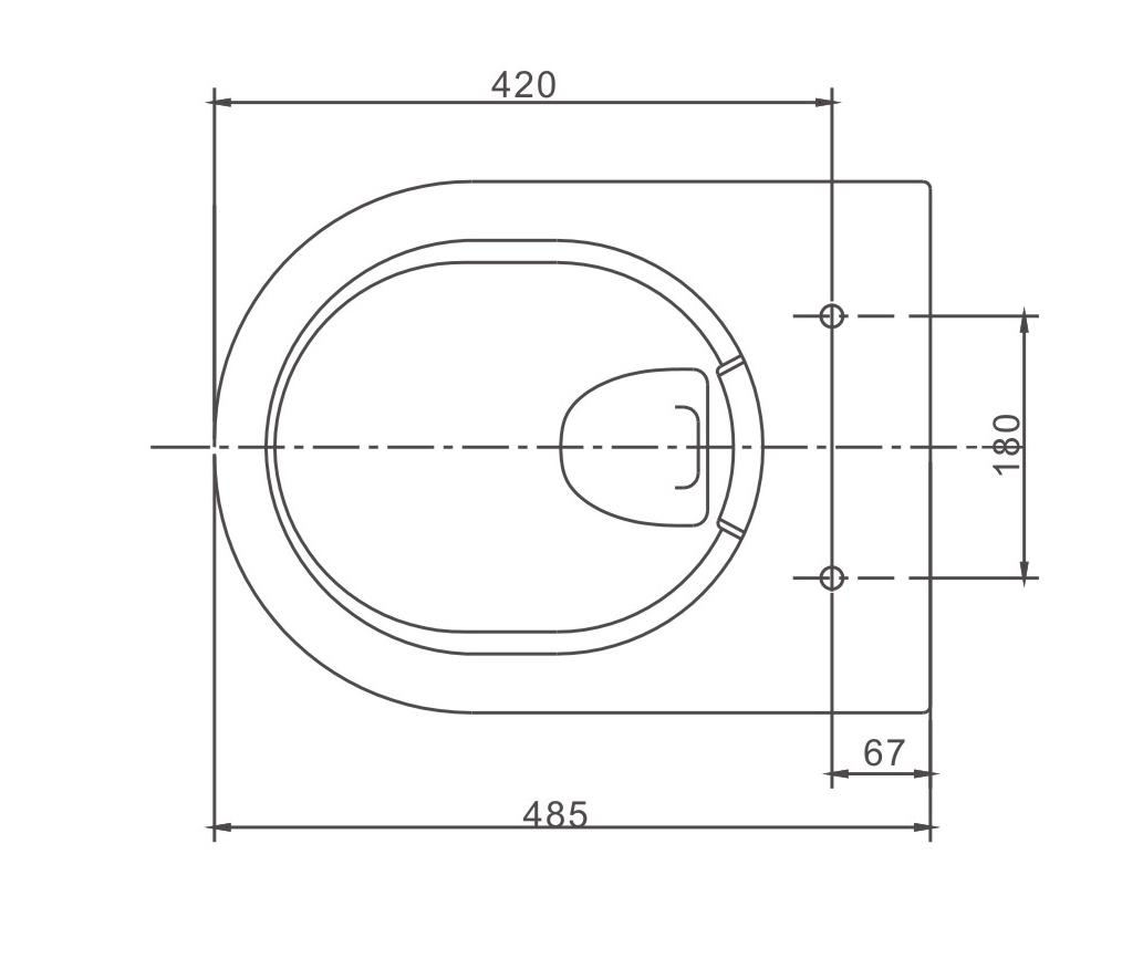 Wall hung WC without flange NT2038 - Drawing 1