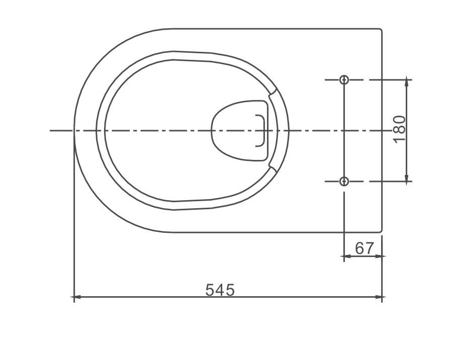 Hung open flange WC NT2039 - Drawing 1