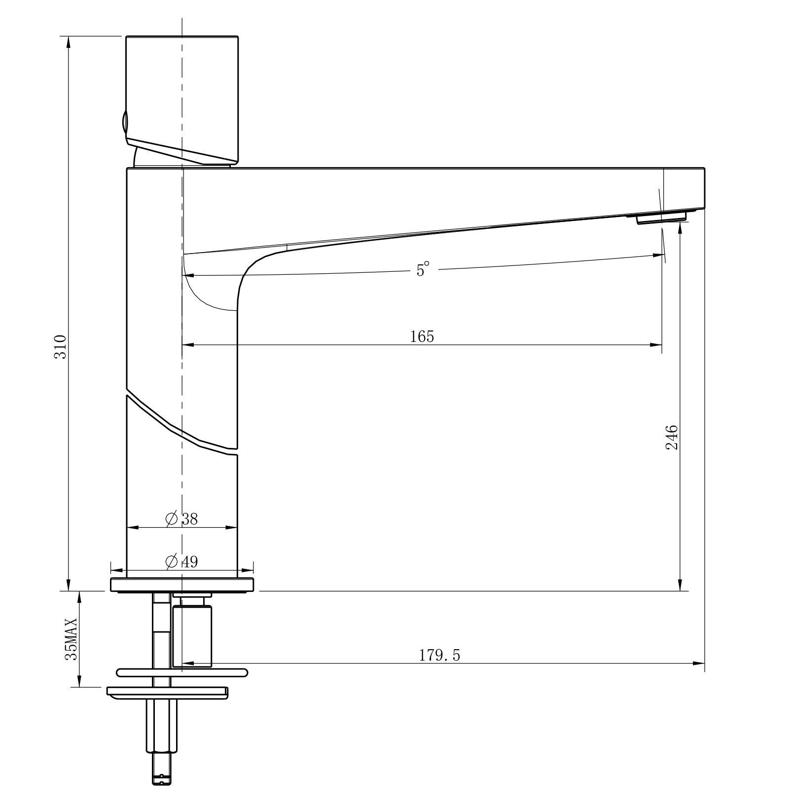 Waschtischarmatur NT3322 - Zeichnung 1