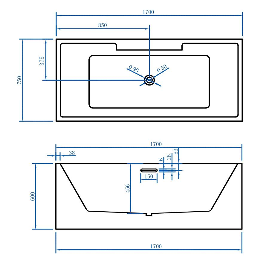 Freistehende Badewanne NADI Pro PLUS - Zeichnung 1