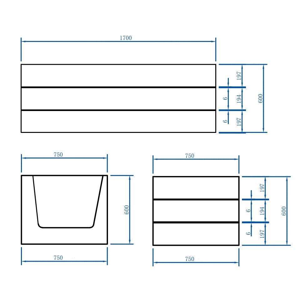 Freistehende Badewanne NADI Pro PLUS - Zeichnung 2