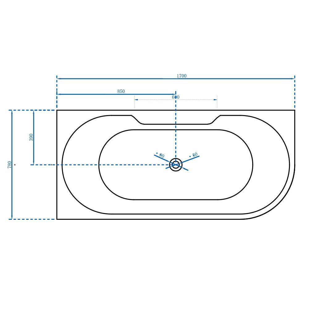 Freistehende Badewanne Nova Corner Plus Links - Zeichnung 1
