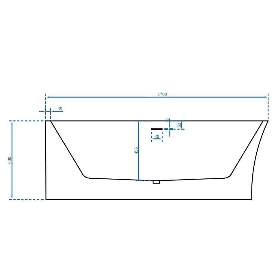 Freistehende Badewanne Nova Corner Plus Links - Zeichnung 2