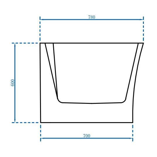 Freistehende Badewanne Nova Corner Plus Links - Zeichnung 3