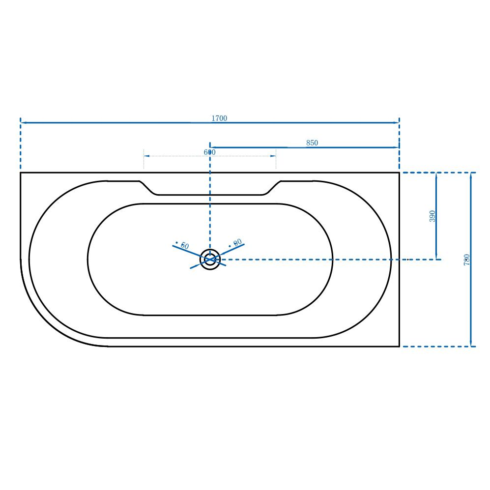 Freistehende Badewanne Nova Corner Plus Rechts - Zeichnung 1