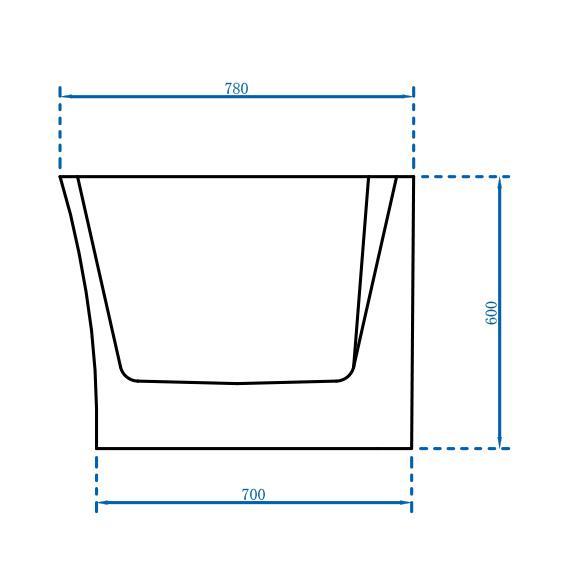 Freistehende Badewanne Nova Corner Plus Rechts - Zeichnung 3