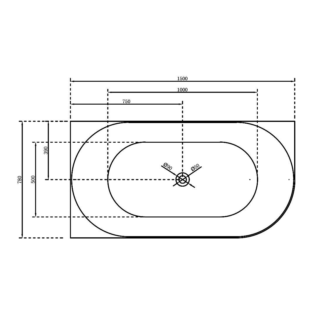 Freistehende Badewanne Nova Slim Line Links 150cm - Zeichnung 1