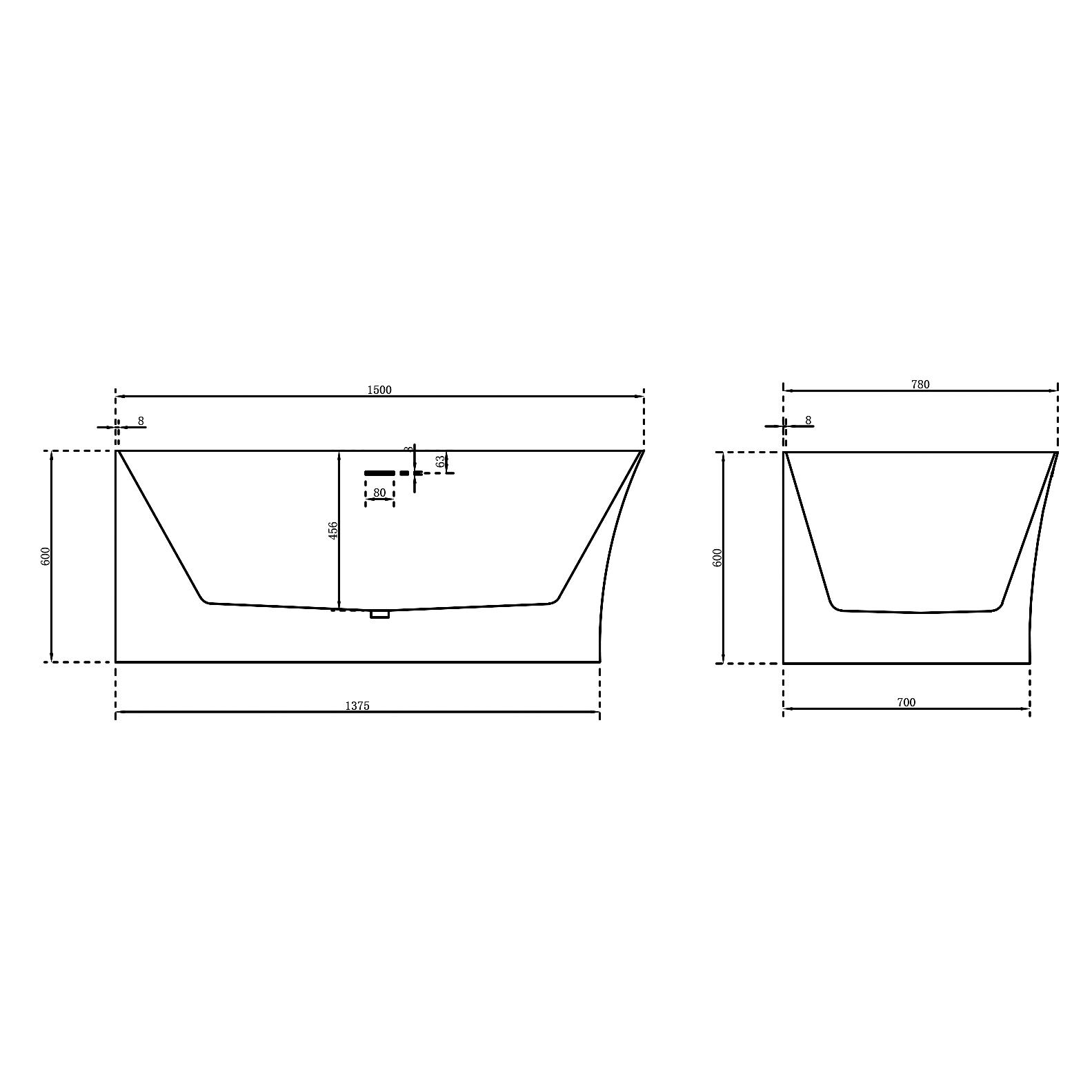 Freistehende Badewanne Nova Slim Line Links 150cm - Zeichnung 2