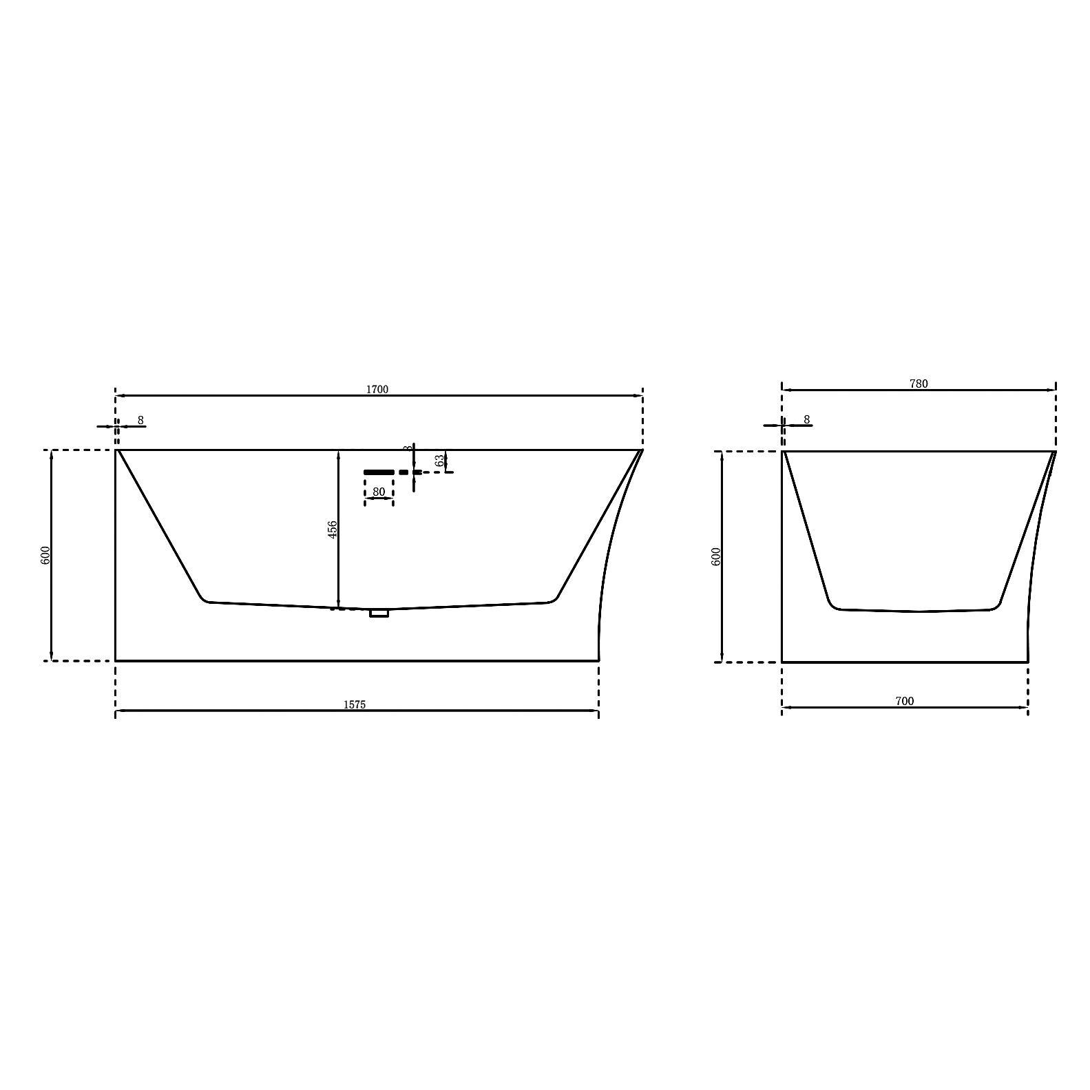 Freistehende Badewanne Nova Slim Line Links 170cm - Zeichnung 4