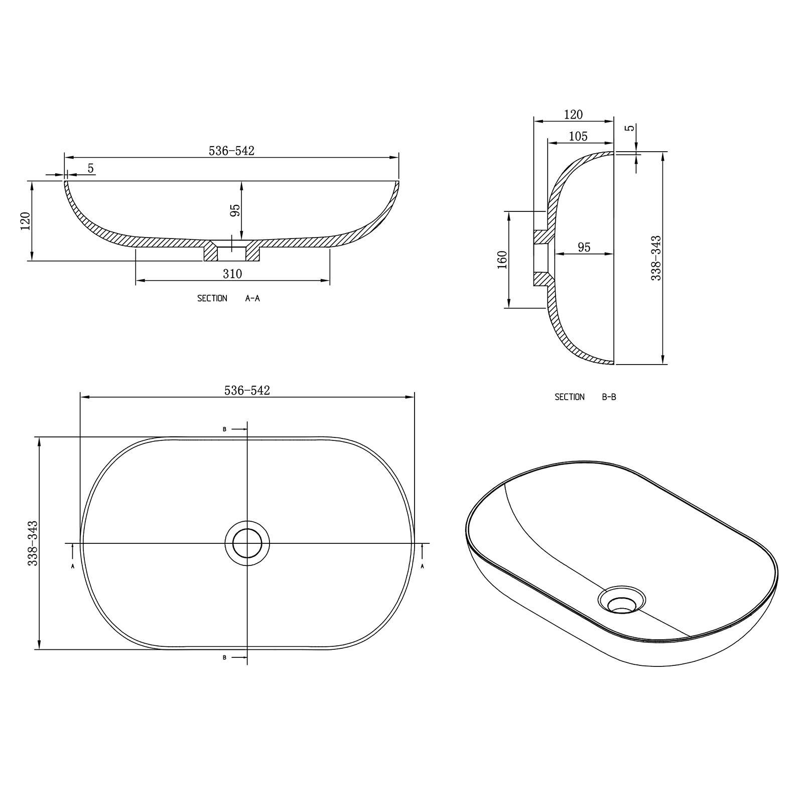Aufsatzwaschbecken O-540 Ocean - Zeichnung
