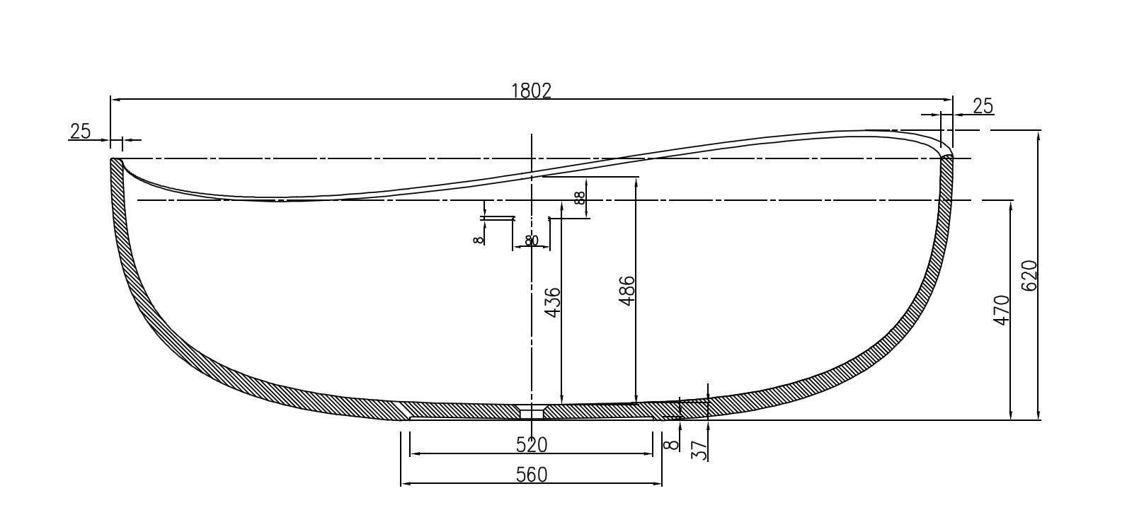 Freistehende Badewanne WAVE - Zeichnung 2
