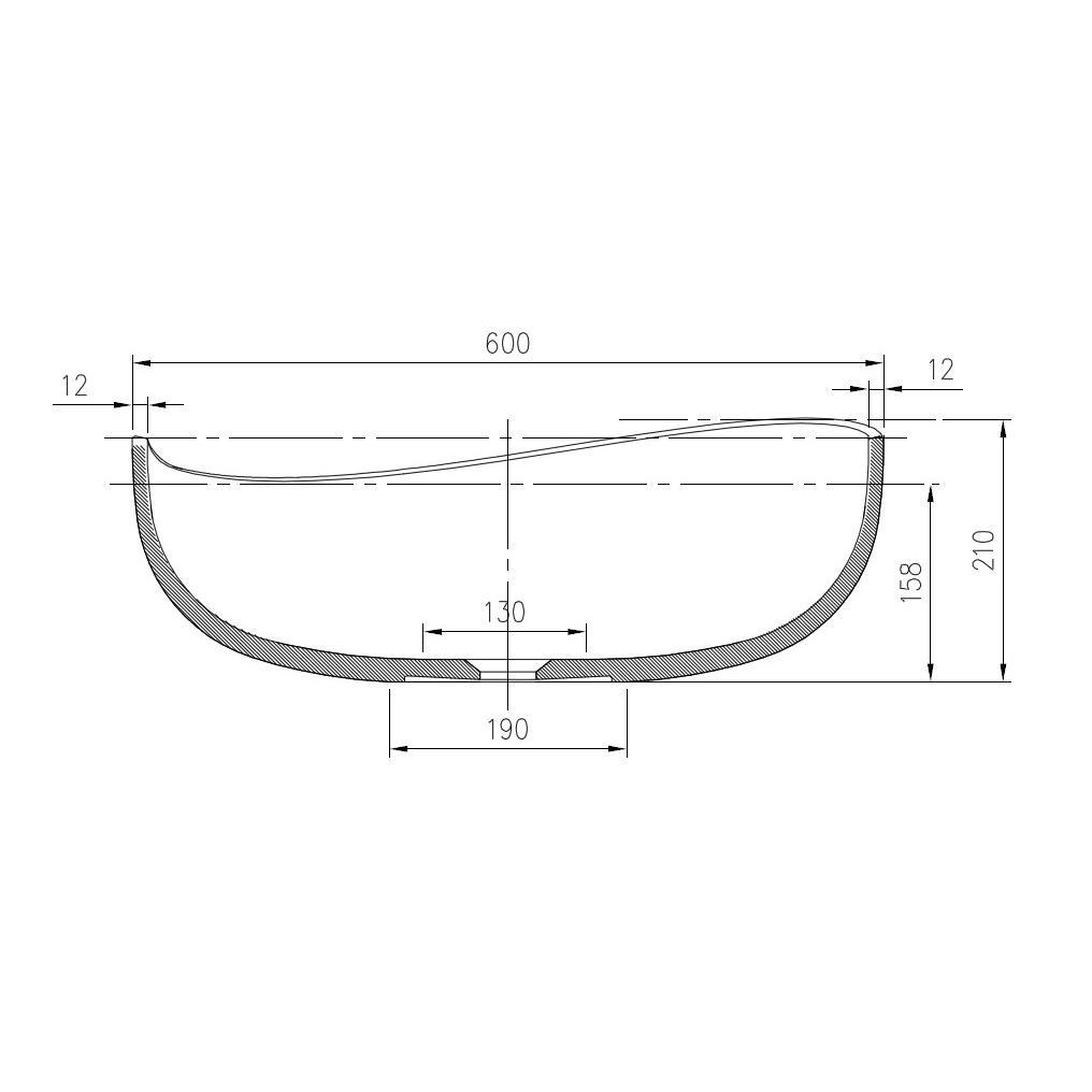 Aufsatzwaschbecken PB2001 - Zeichnung 2