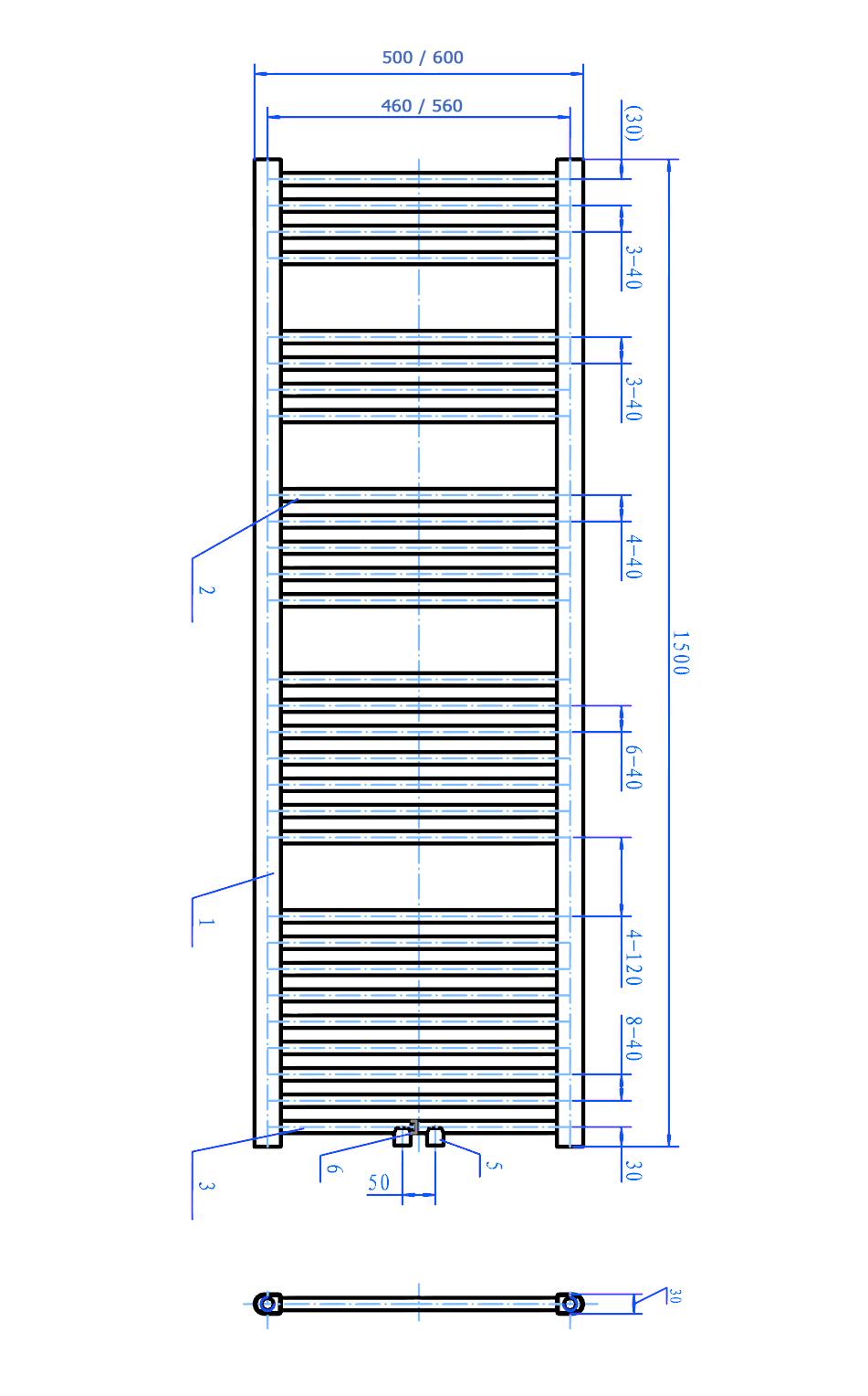Badheizkörper R18C - Zeichnung 1