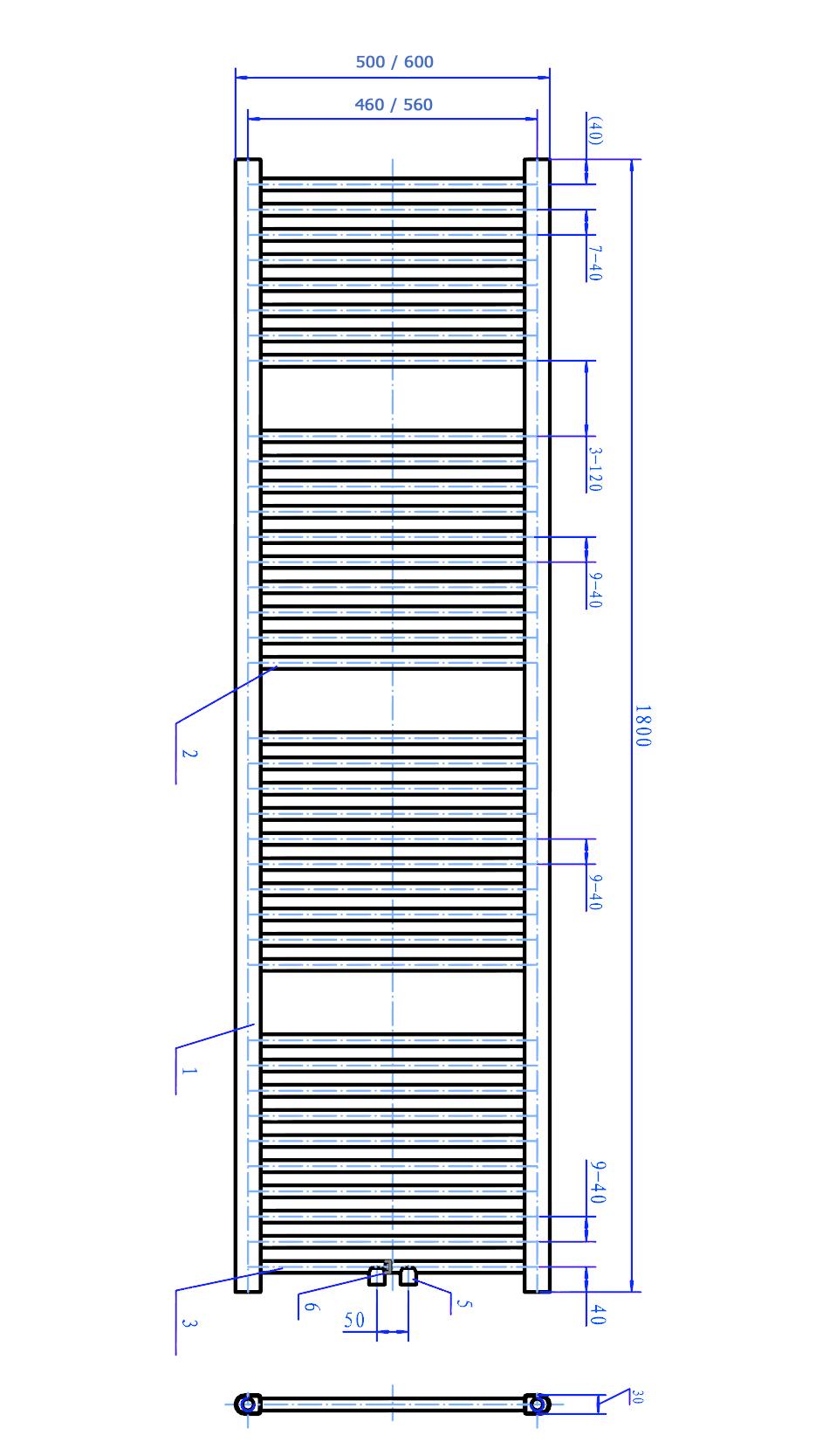 Badheizkörper R18C - Zeichnung 2