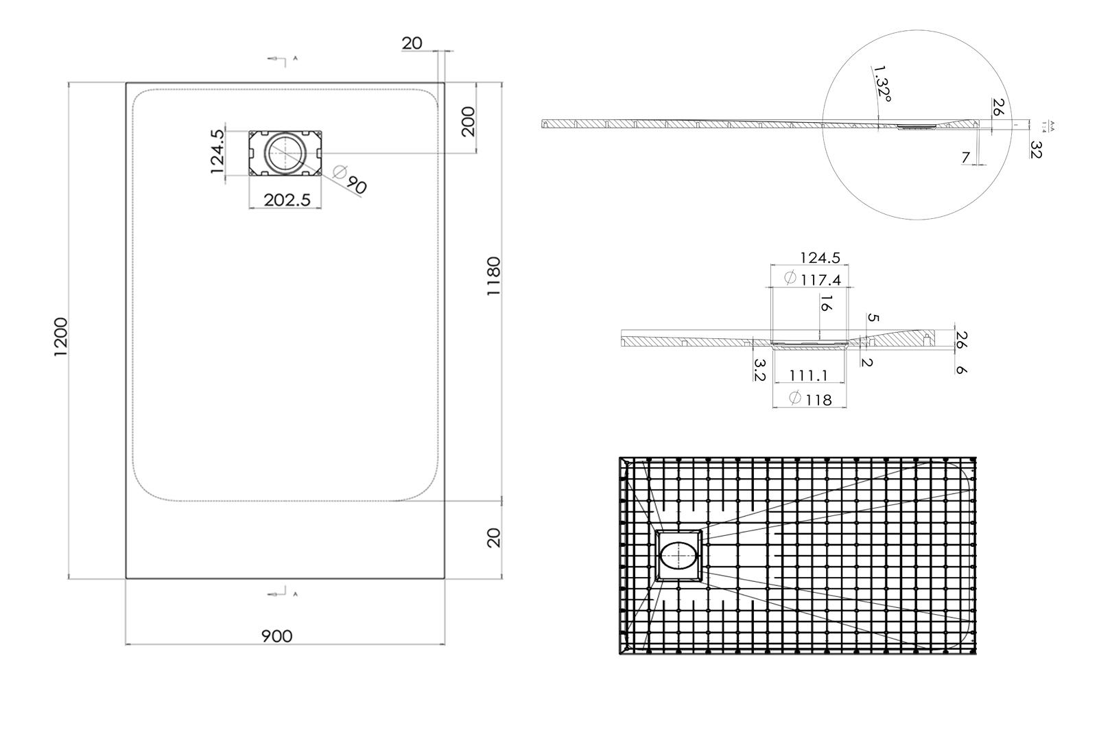 SMC Duschtasse 90x120cm - Zeichnung