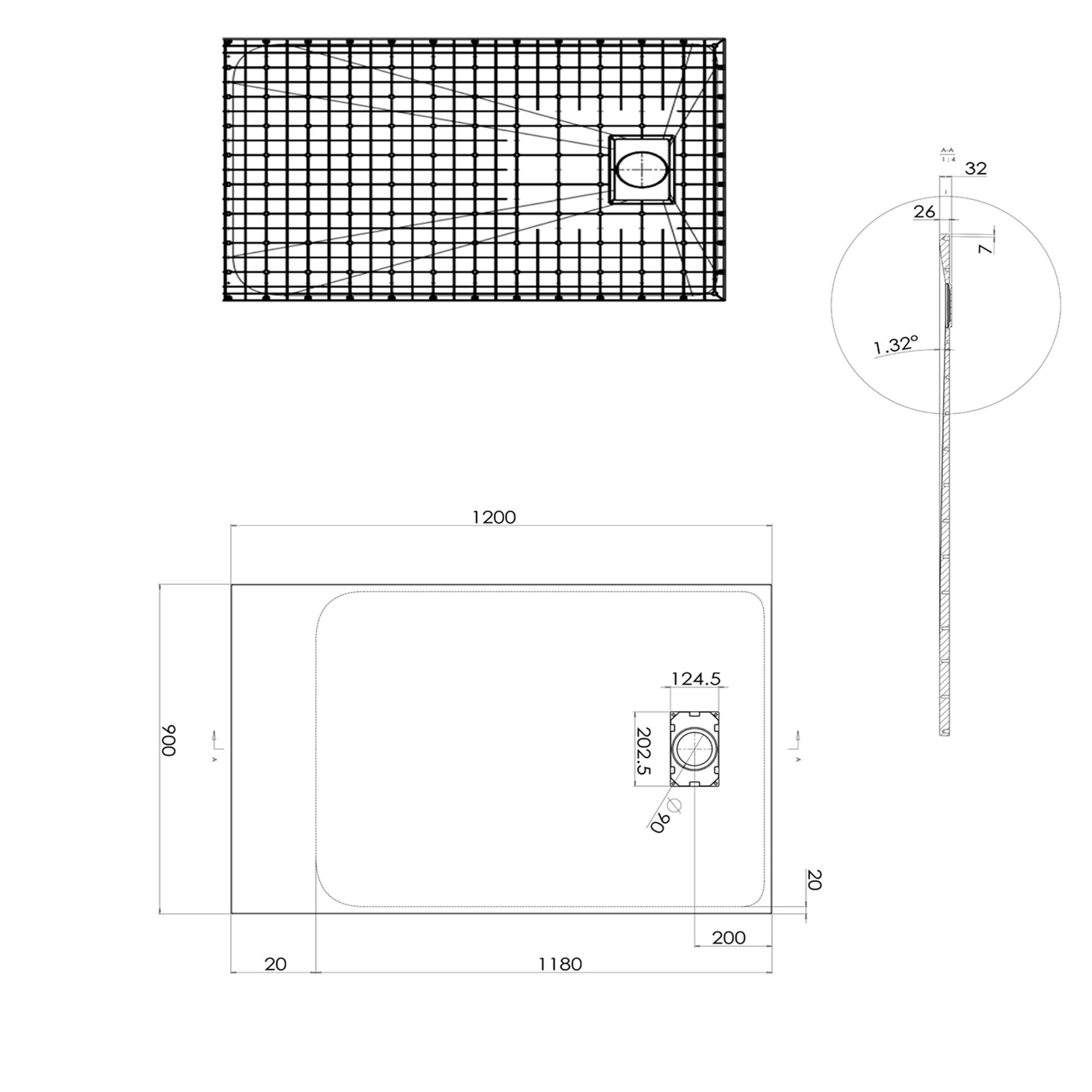 SMC Duschtasse 120cm - Zeichnung