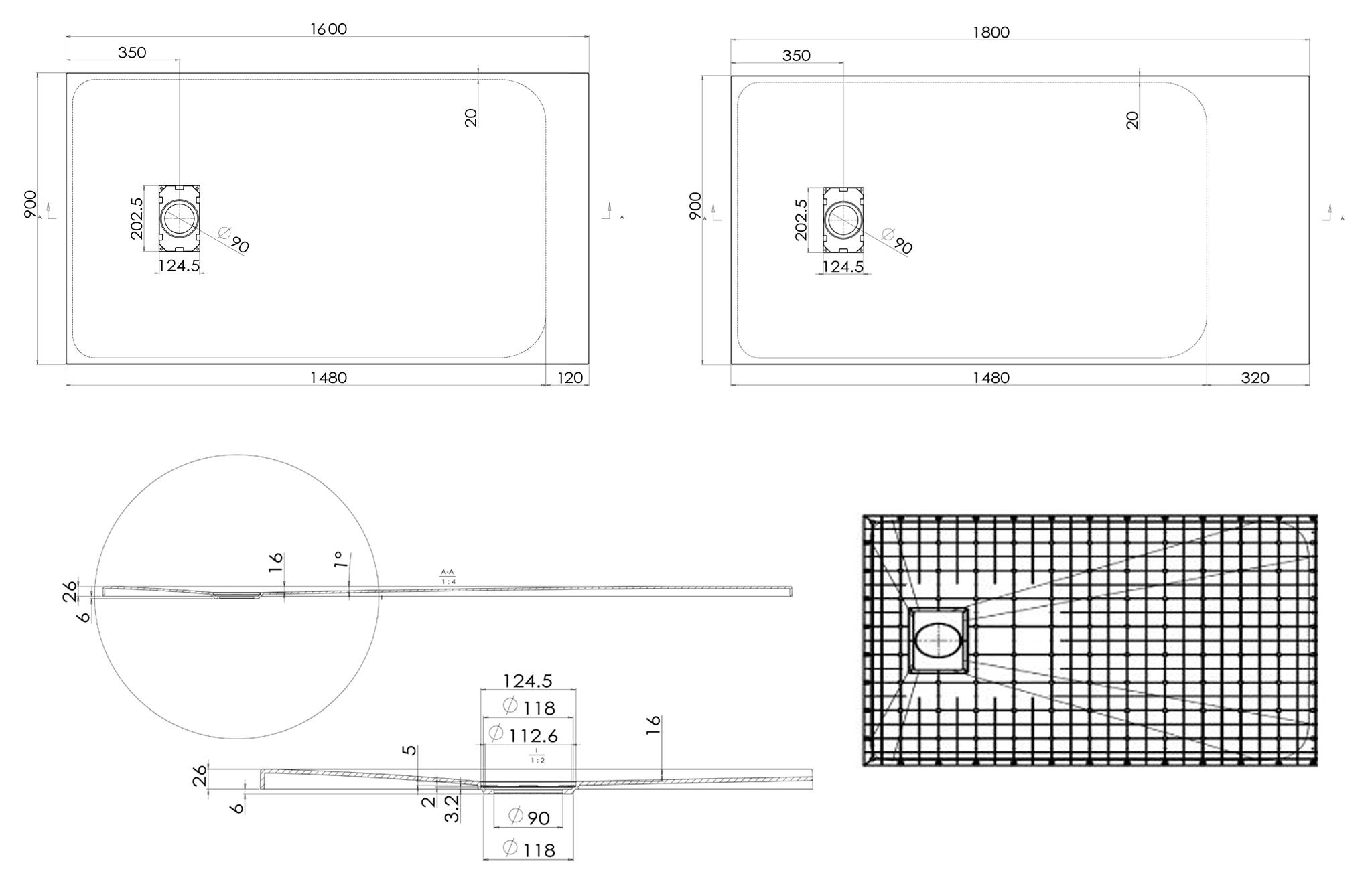 SMC shower tray 160cm-180cm - Détails