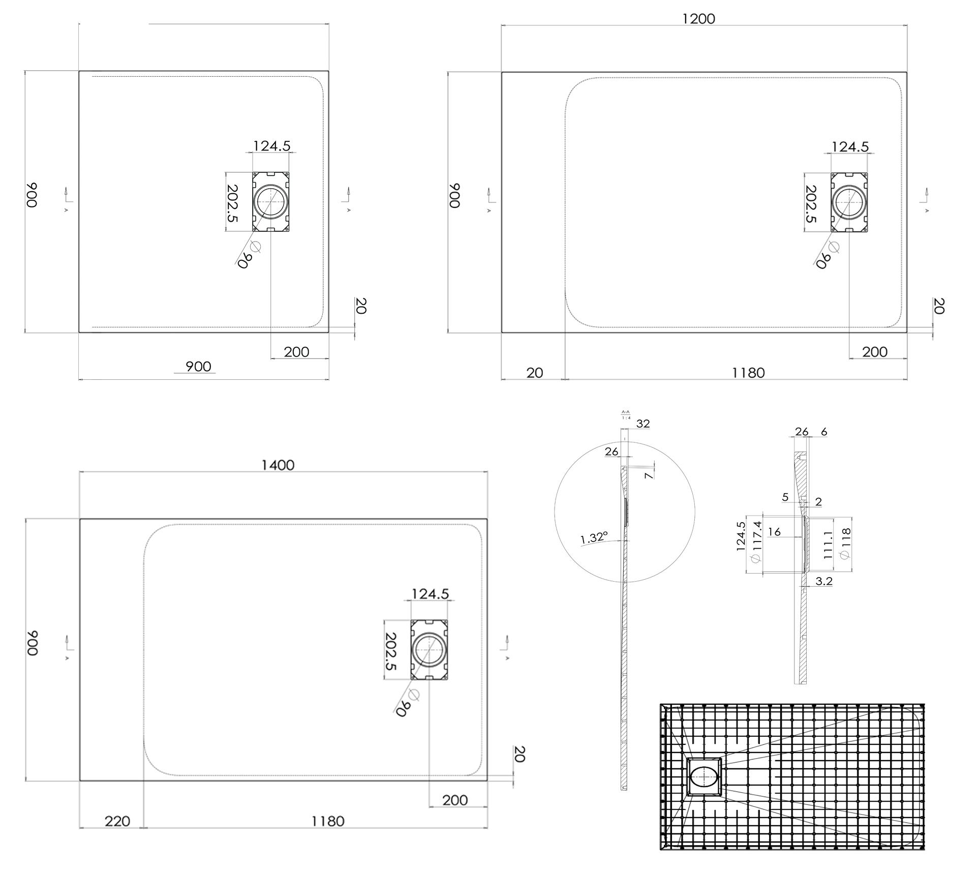 SMC Duschtasse 90cm-120cm-140cm - Zeichnung
