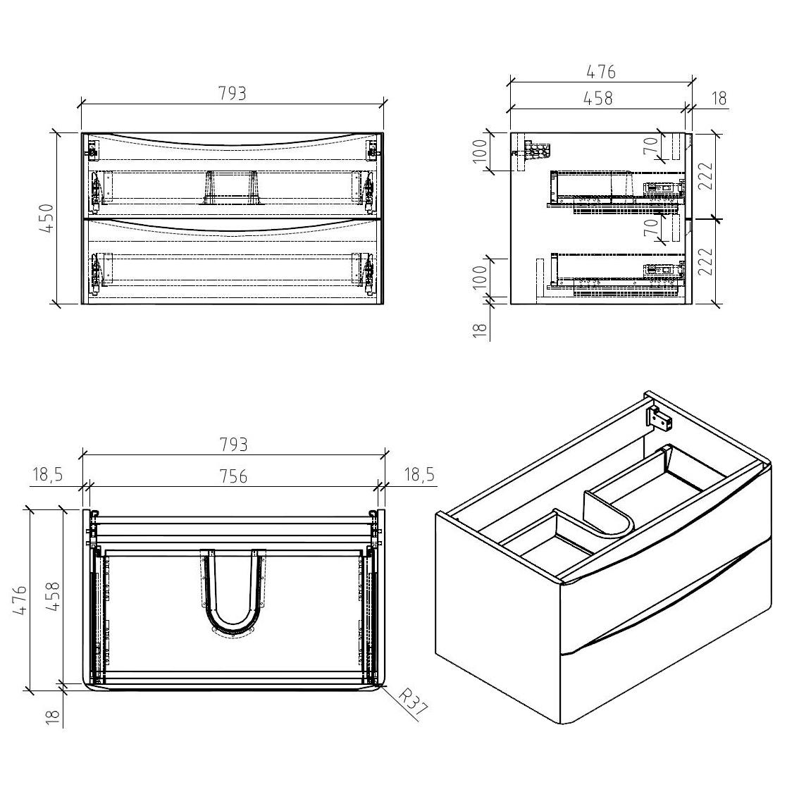 Smile 800 under basin cabinet - Drawing