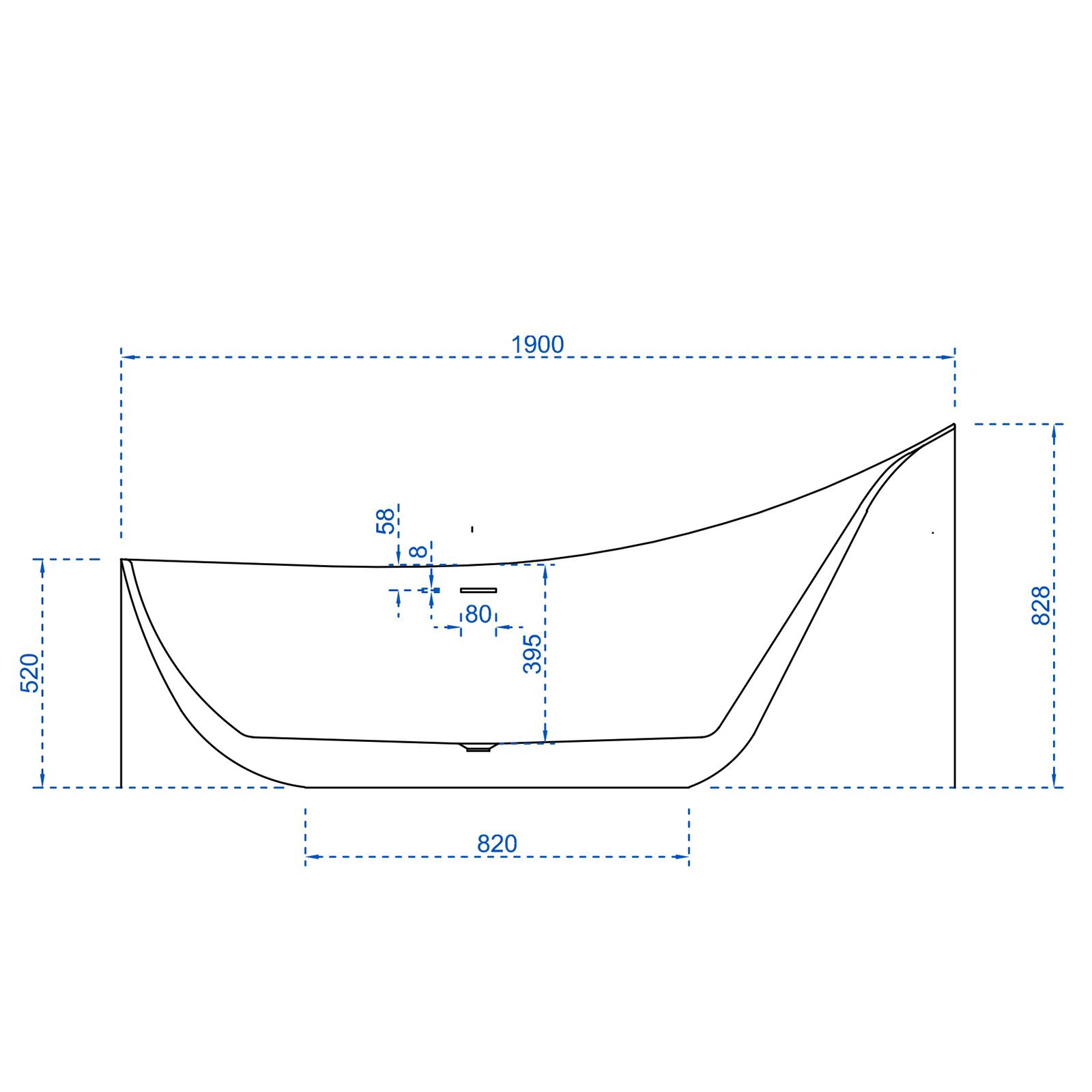 Freistehende Badewanne SOPHIE - Zeichnung 1