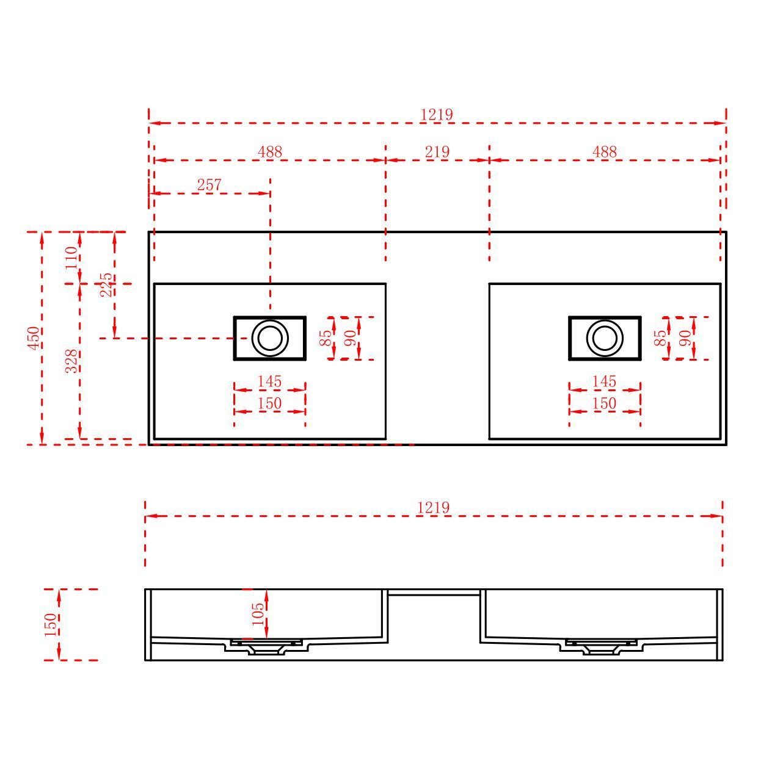 Washbasin TWG231 122cm - Drawing 1