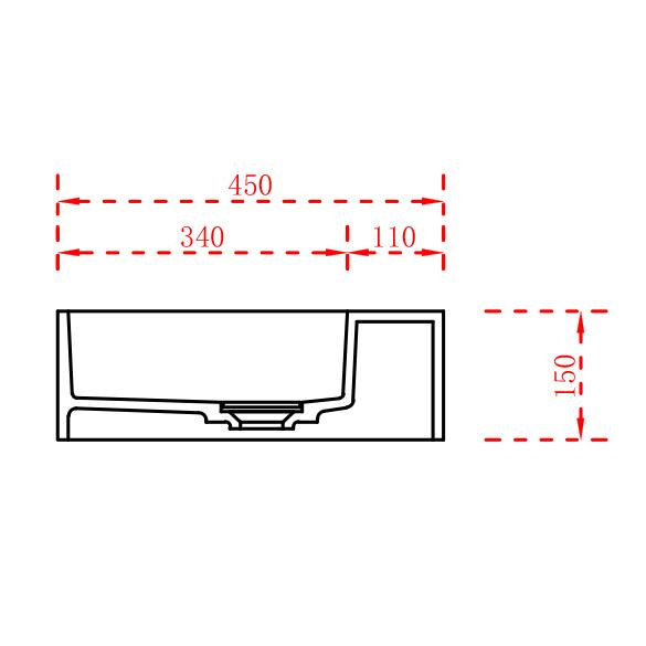 Washbasin TWG231 122cm - Drawing 2
