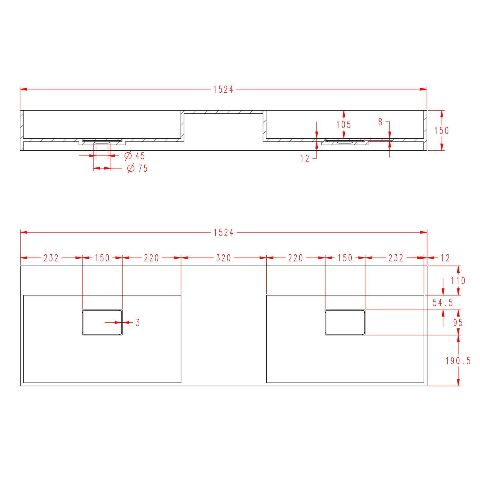 Washbasin TWG231 153cm - Drawing 3