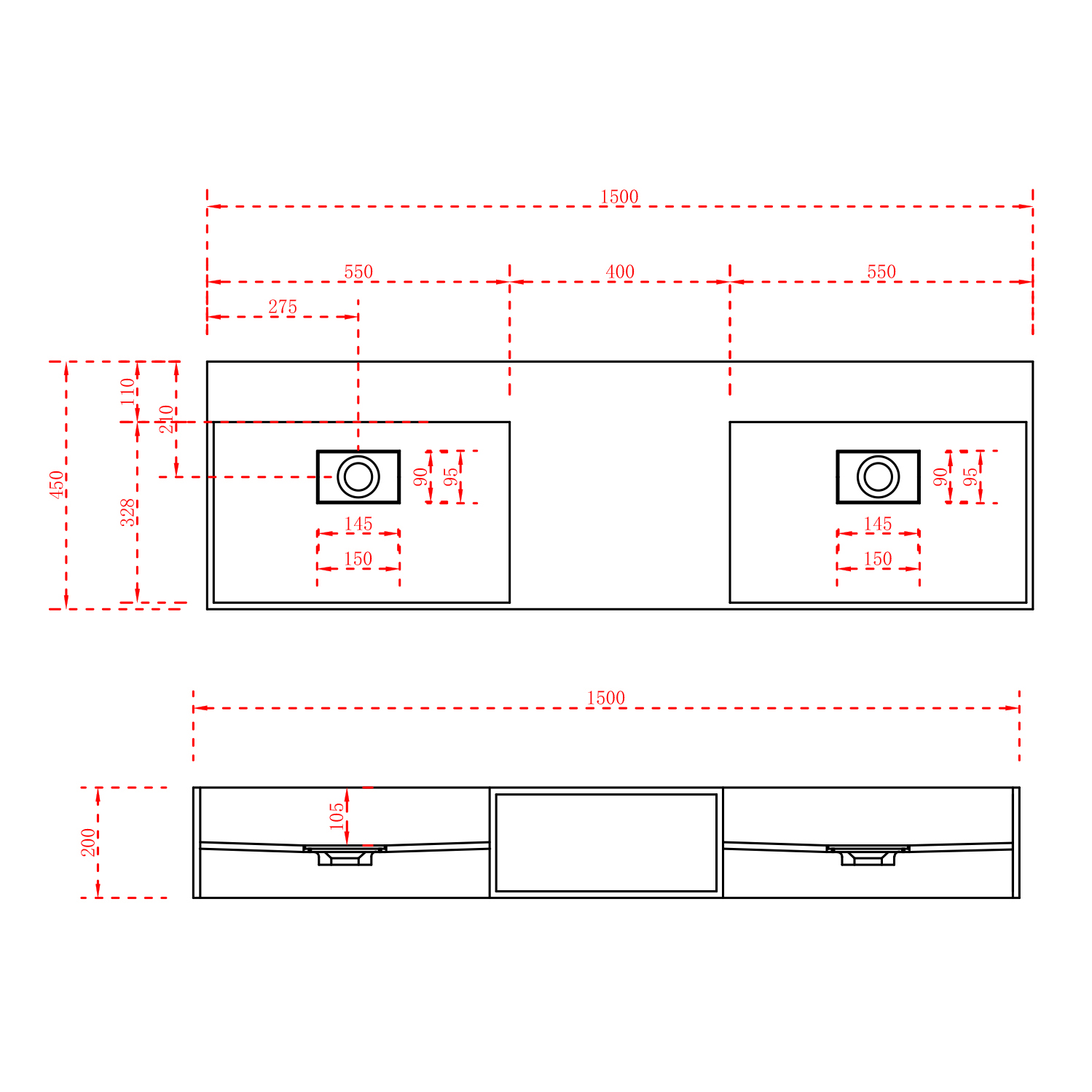 Wall-Hung Washbasin TWG235 - Drawing 1