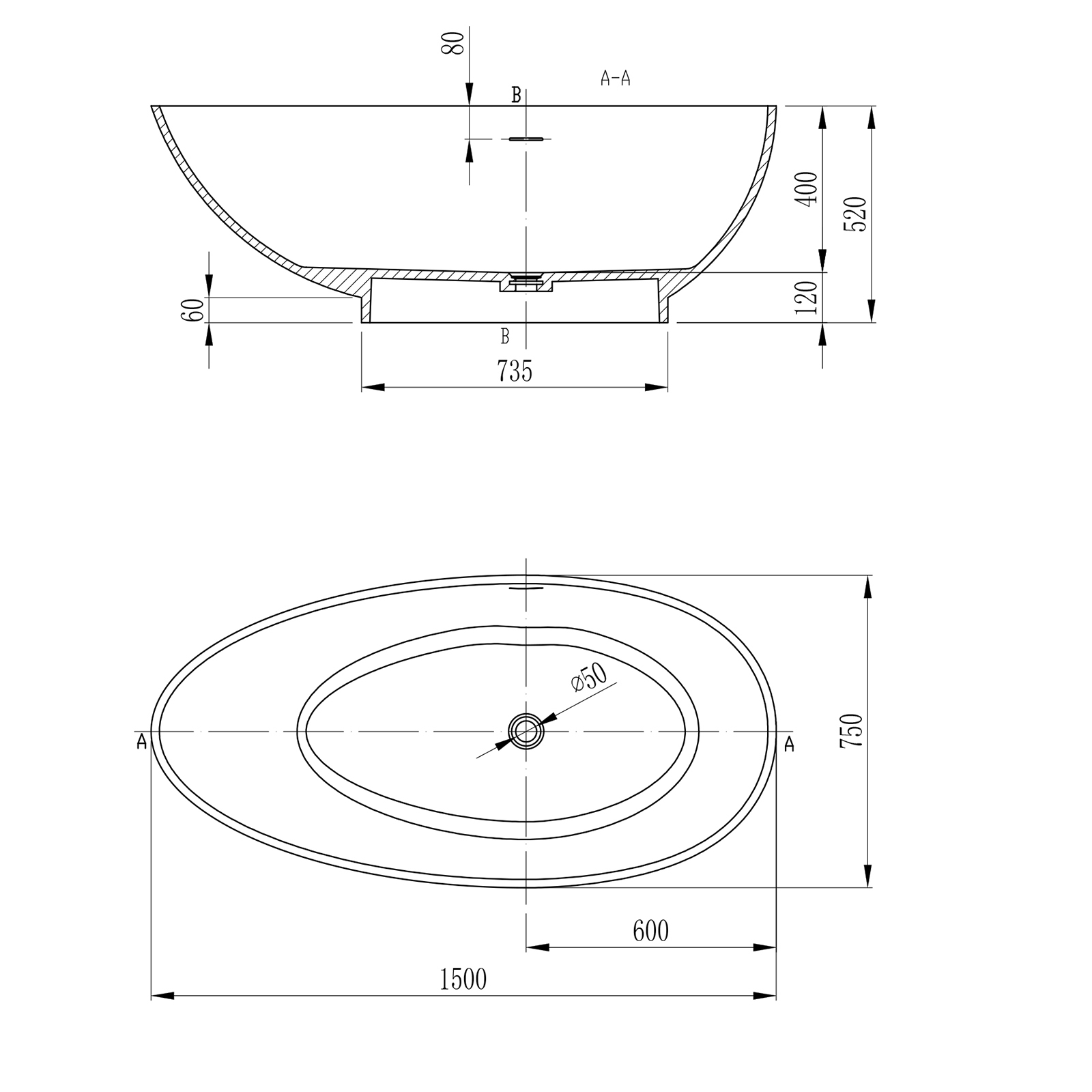 Freestanding bathtub VIGO 150cm - Drawing 1