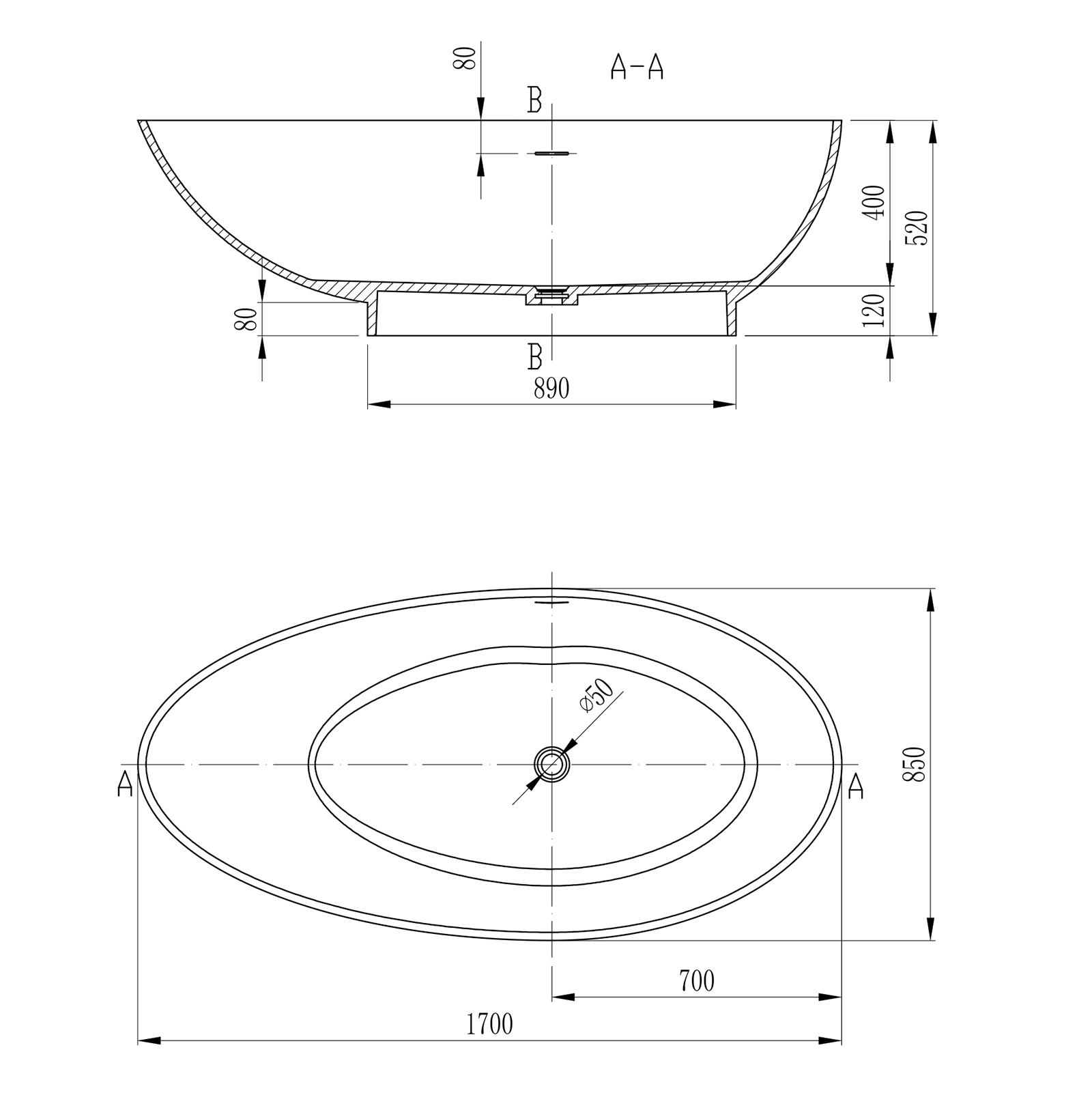 Freestanding bathtub VIGO 170cm - Drawing 3