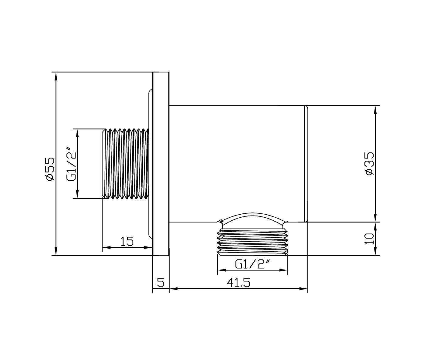 Wandanschlussbogen BA008 - Zeichnung