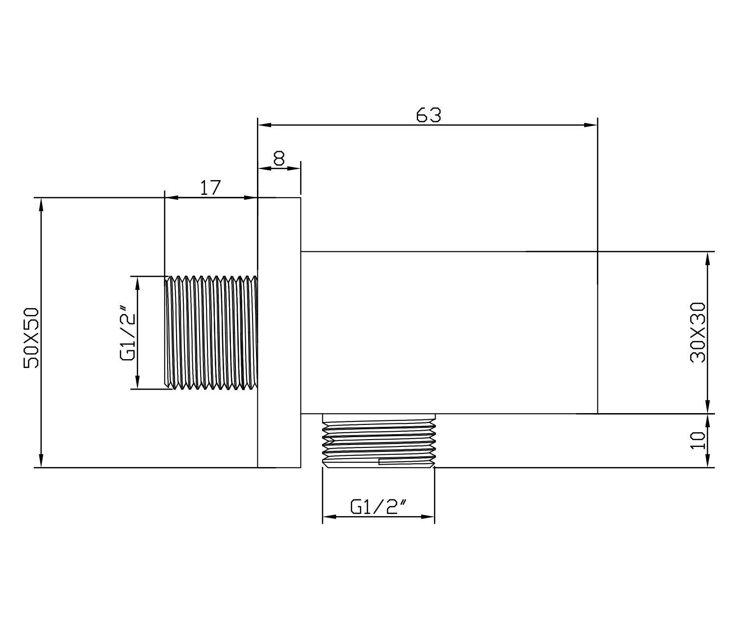 Wandanschlussbogen mit Brausehalter BA002 - Zeichnung