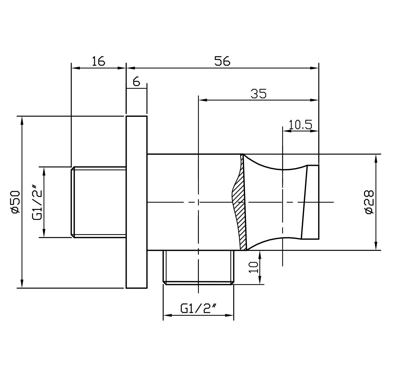 Wandanschlussbogen mit Brausehalter BA003 - Zeichnung