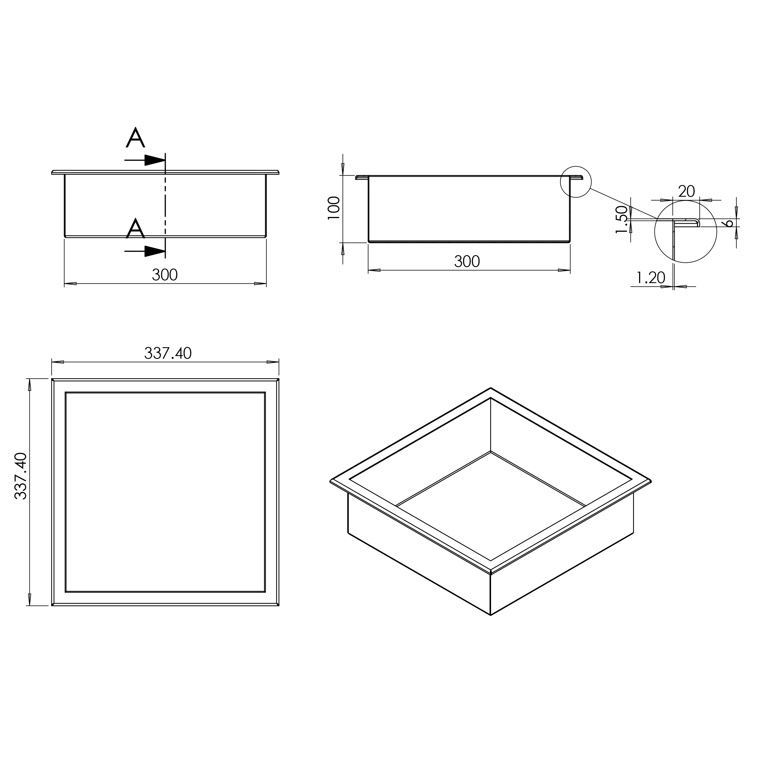 Wall niche BS303010 - Drawing