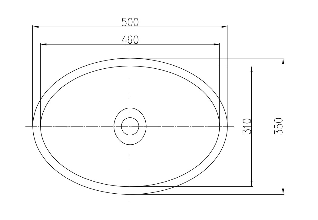 Counter top basin TW2106 - drawing 2