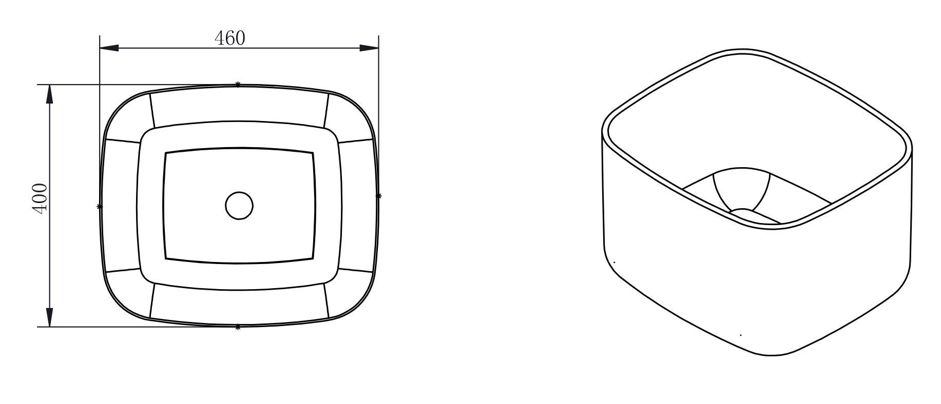 Aufsatzwaschbecken PB2094 - Zeichnung 1
