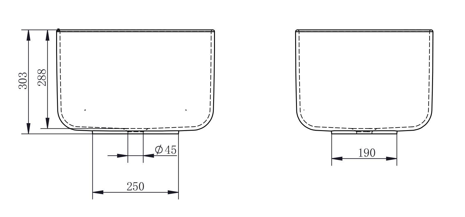 Aufsatzwaschbecken PB2094 - Zeichnung 2