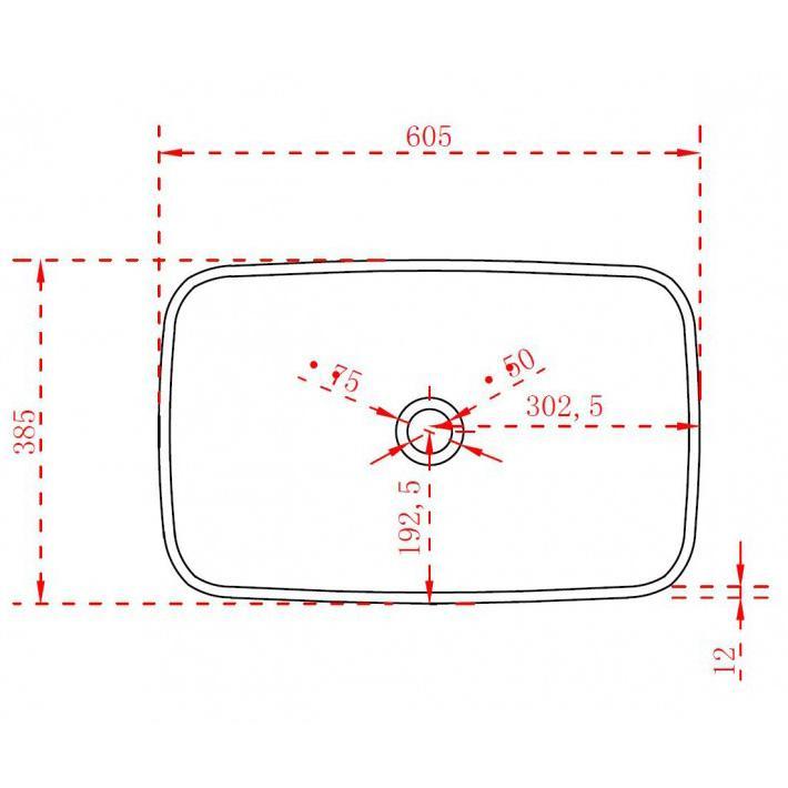 Aufsatzwaschbecken TWA06 - Zeichnung 1