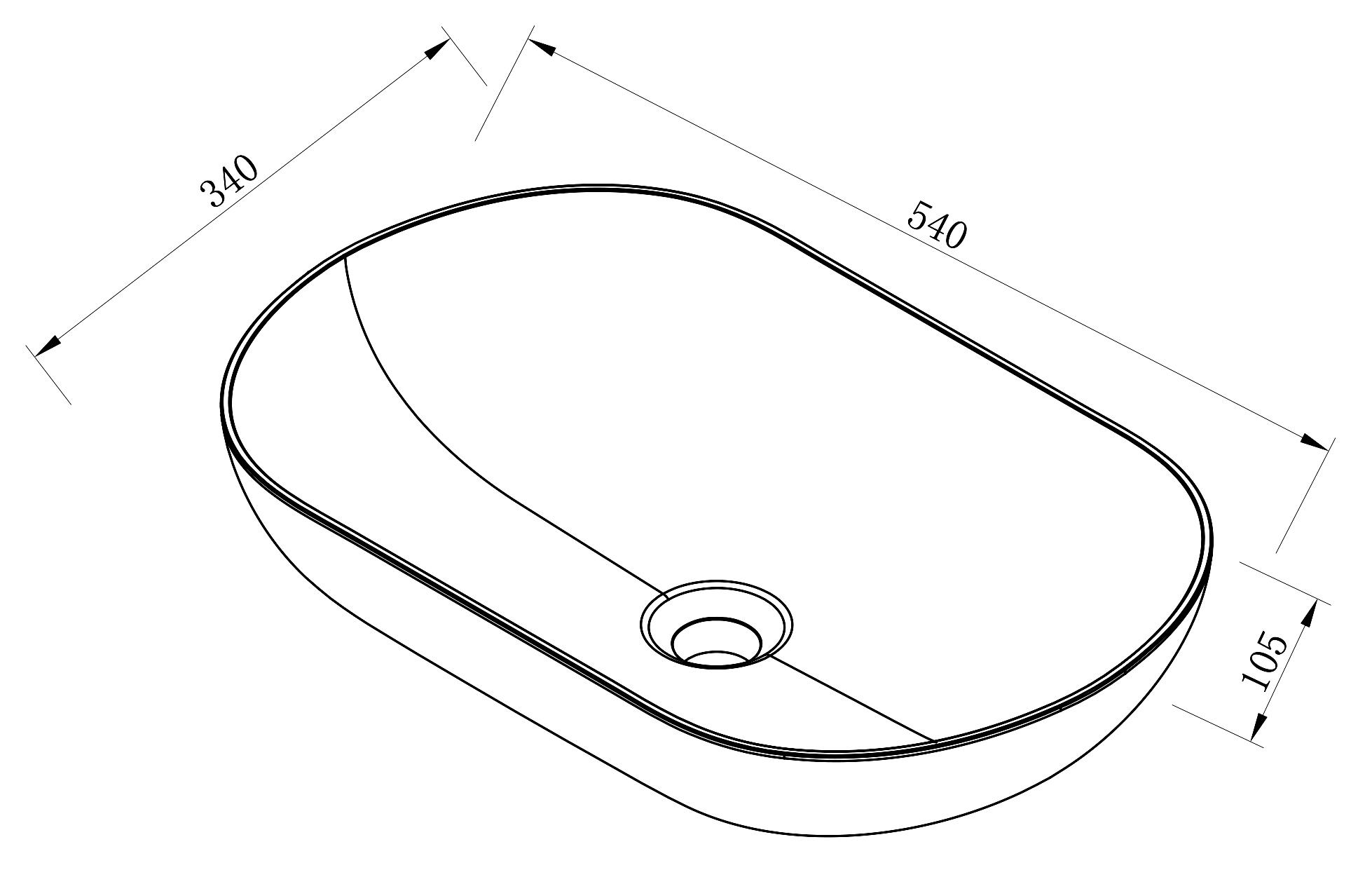 Counter top basin O-540 Drawing