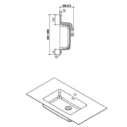 Freya 900 Waschbecken - Zeichnung