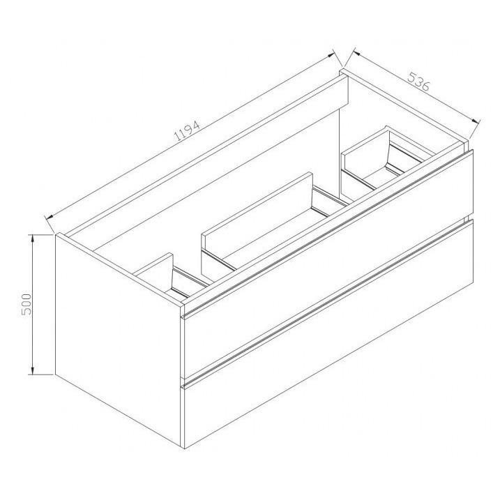 Badmöbel-Set DELIA 1200 - Zeichnung 1