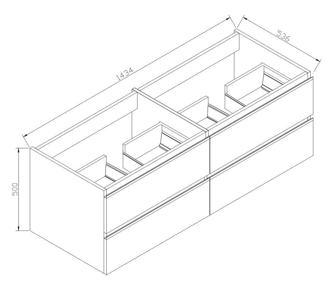 Badmöbel-Set DELIA 1440 - Zeichnung 2
